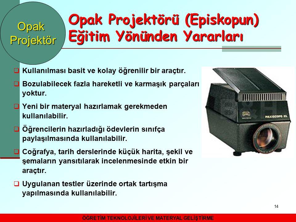 Opak Projektörü (Episkopun) Eğitim Yönünden Yararları