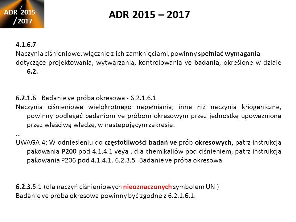 ADR 2015 – 2017 ADR 2015. 2017. 4.1.6.7. Naczynia ciśnieniowe, włącznie z ich zamknięciami, powinny spełniać wymagania.