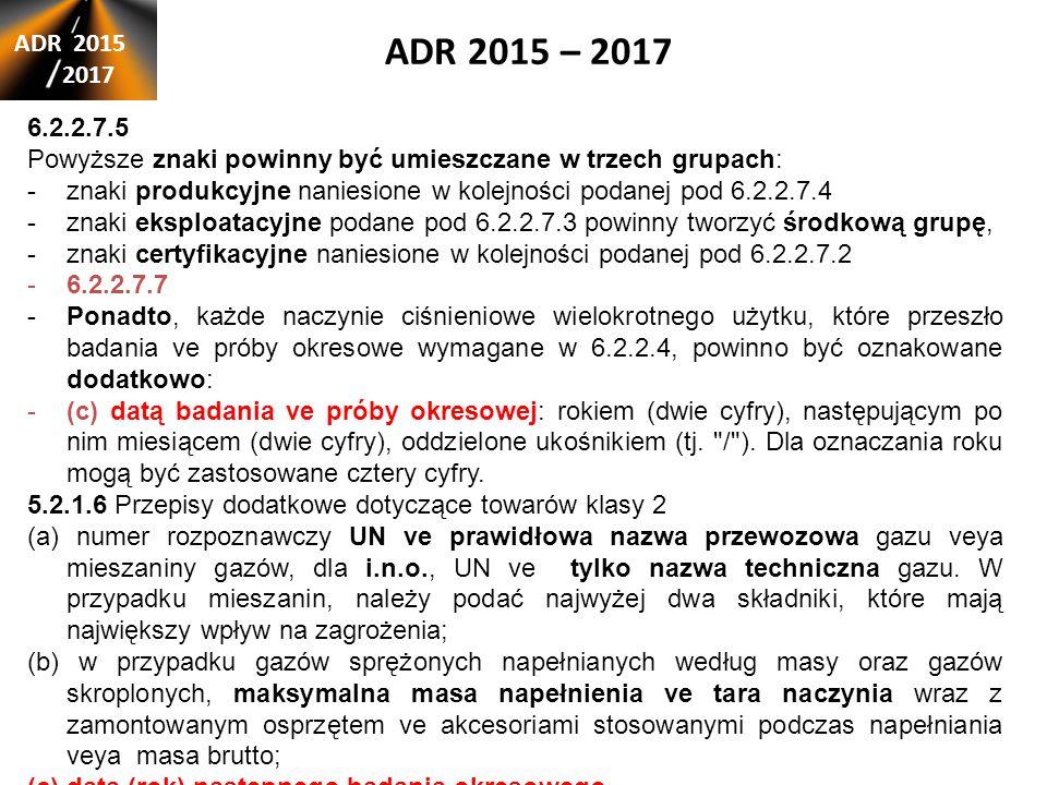 ADR 2015 – 2017 ADR 2015. 2017. 6.2.2.7.5. Powyższe znaki powinny być umieszczane w trzech grupach: