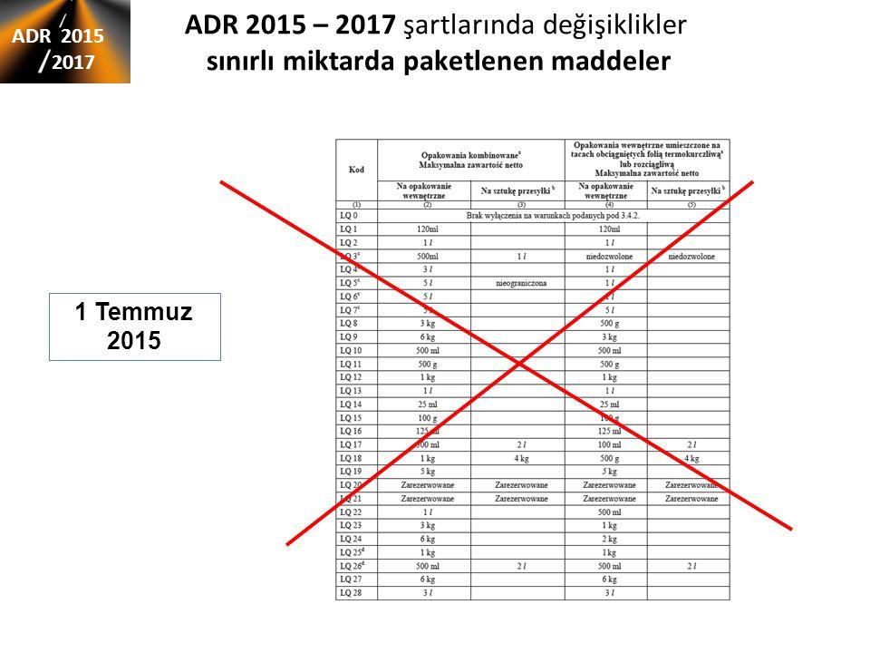 ADR 2015 – 2017 şartlarında değişiklikler sınırlı miktarda paketlenen maddeler