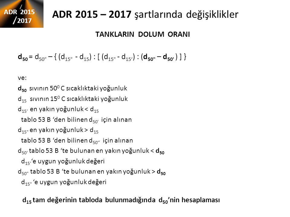 ADR 2015 – 2017 şartlarında değişiklikler