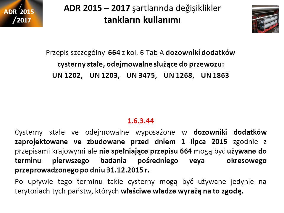 ADR 2015 – 2017 şartlarında değişiklikler tankların kullanımı