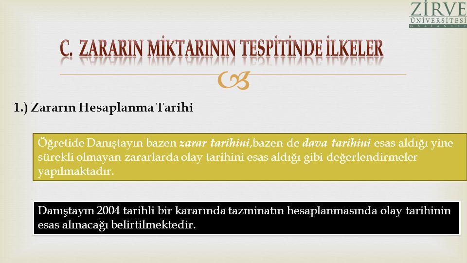 C. ZARARIN MİKTARININ TESPİTİNDE İLKELER