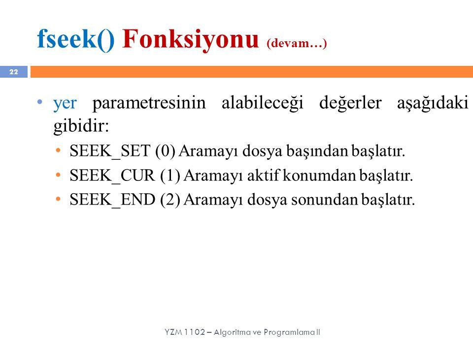 fseek() Fonksiyonu (devam…)