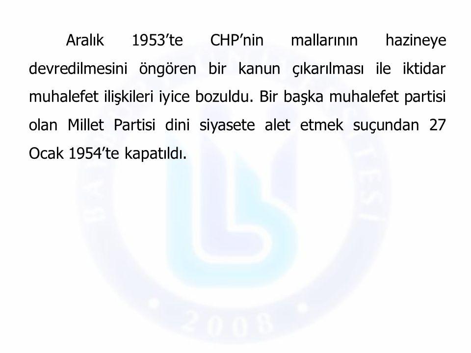 Aralık 1953'te CHP'nin mallarının hazineye devredilmesini öngören bir kanun çıkarılması ile iktidar muhalefet ilişkileri iyice bozuldu.