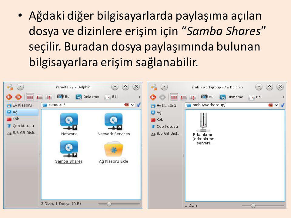 Ağdaki diğer bilgisayarlarda paylaşıma açılan dosya ve dizinlere erişim için Samba Shares seçilir.