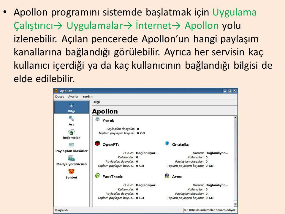 Apollon programını sistemde başlatmak için Uygulama Çalıştırıcı→ Uygulamalar→ İnternet→ Apollon yolu izlenebilir.