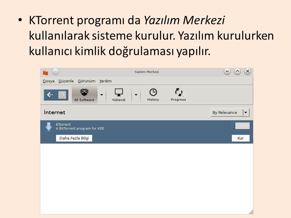 KTorrent programı da Yazılım Merkezi kullanılarak sisteme kurulur