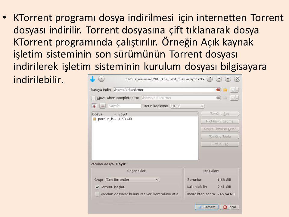 KTorrent programı dosya indirilmesi için internetten Torrent dosyası indirilir.