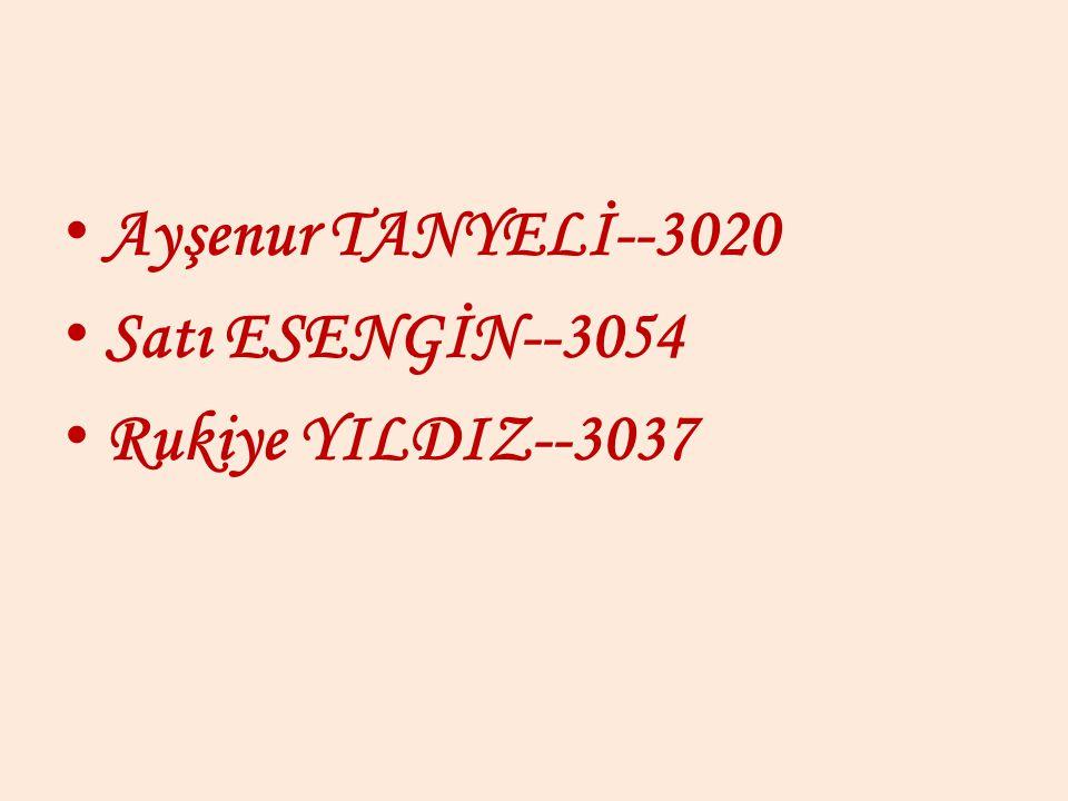 Ayşenur TANYELİ--3020 Satı ESENGİN--3054 Rukiye YILDIZ--3037