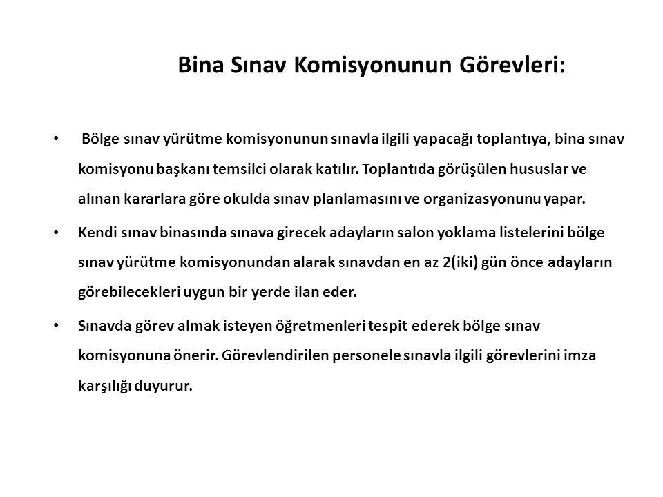 Bina Sınav Komisyonunun Görevleri: