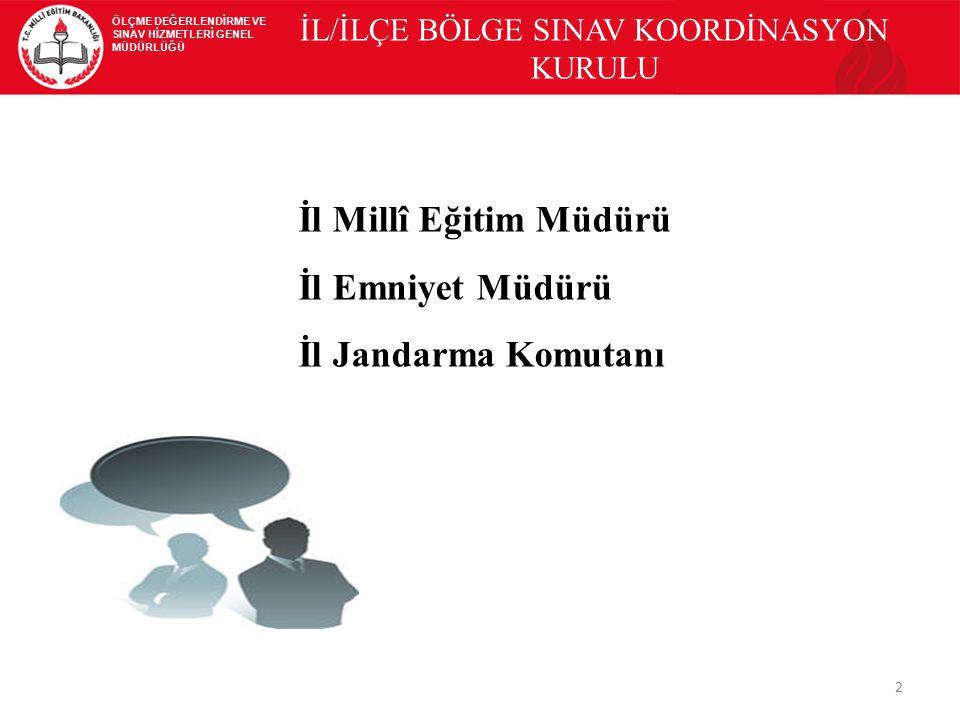 İL/İLÇE BÖLGE SINAV KOORDİNASYON KURULU