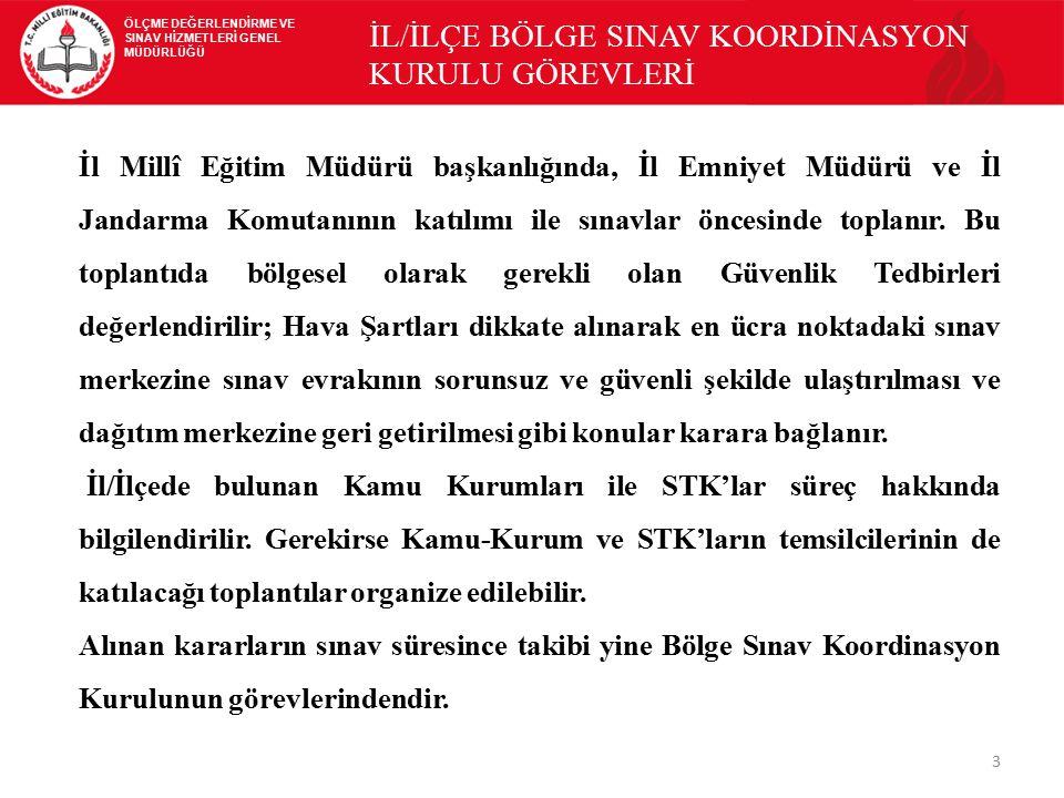 İL/İLÇE BÖLGE SINAV KOORDİNASYON KURULU GÖREVLERİ