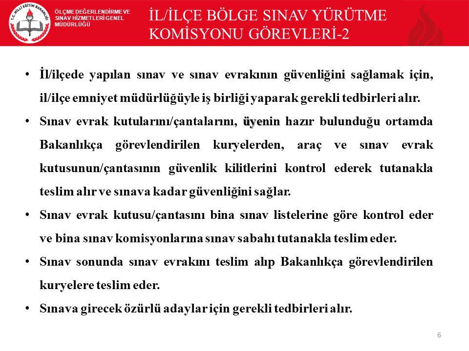 İL/İLÇE BÖLGE SINAV YÜRÜTME KOMİSYONU GÖREVLERİ-2