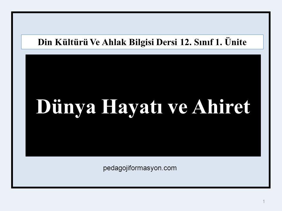 Din Kültürü Ve Ahlak Bilgisi Dersi 12. Sınıf 1. Ünite