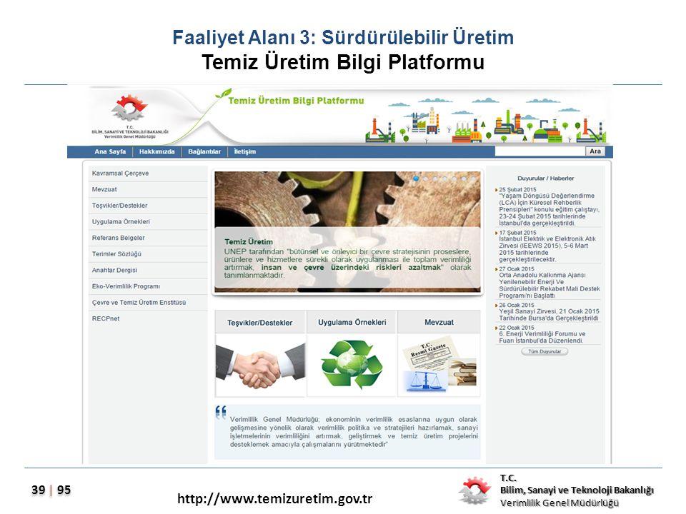 Faaliyet Alanı 3: Sürdürülebilir Üretim Temiz Üretim Bilgi Platformu