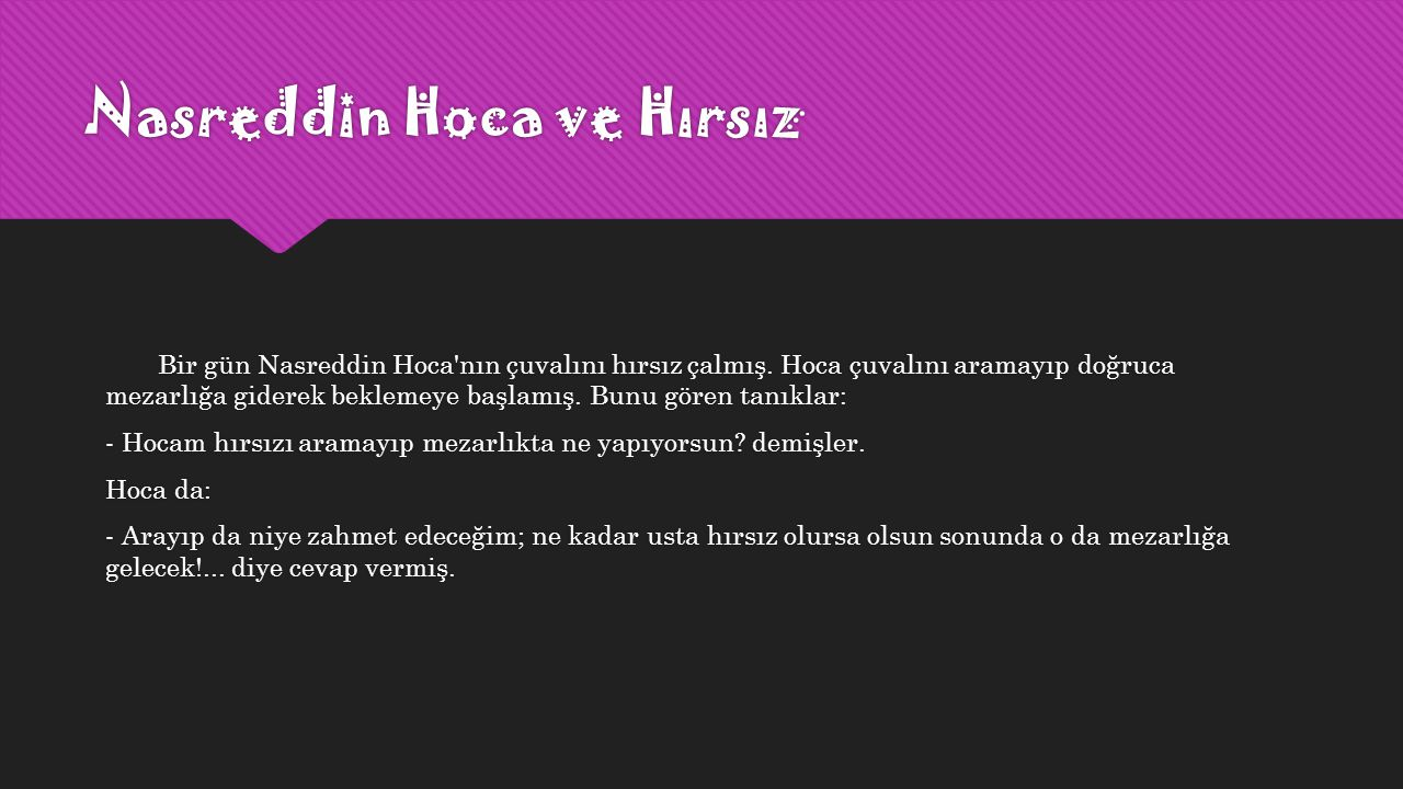 Nasreddin Hoca ve Hırsız