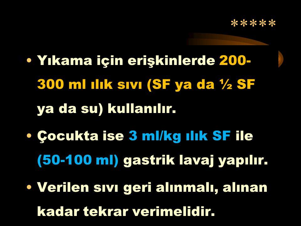***** Yıkama için erişkinlerde 200-300 ml ılık sıvı (SF ya da ½ SF ya da su) kullanılır.