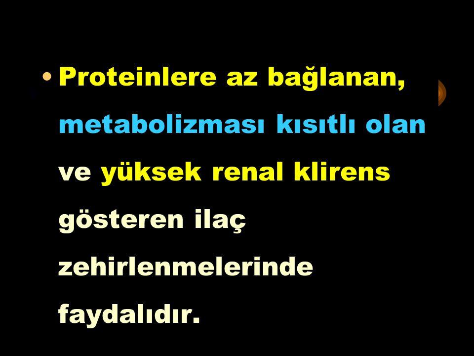 * Proteinlere az bağlanan, metabolizması kısıtlı olan ve yüksek renal klirens gösteren ilaç zehirlenmelerinde faydalıdır.