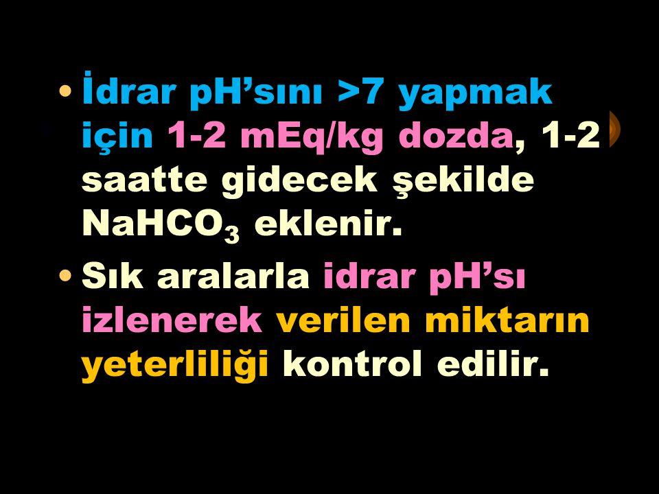 * İdrar pH'sını >7 yapmak için 1-2 mEq/kg dozda, 1-2 saatte gidecek şekilde NaHCO3 eklenir.
