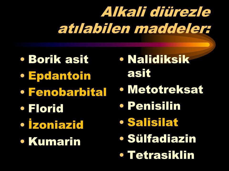 Alkali diürezle atılabilen maddeler: