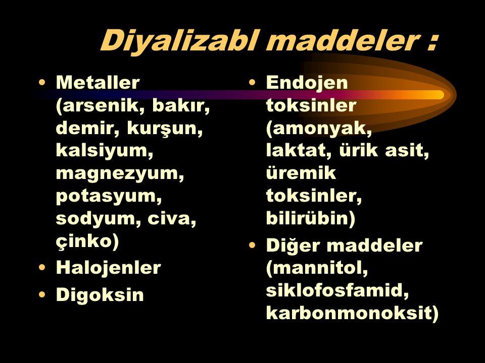 Diyalizabl maddeler : Metaller (arsenik, bakır, demir, kurşun, kalsiyum, magnezyum, potasyum, sodyum, civa, çinko)