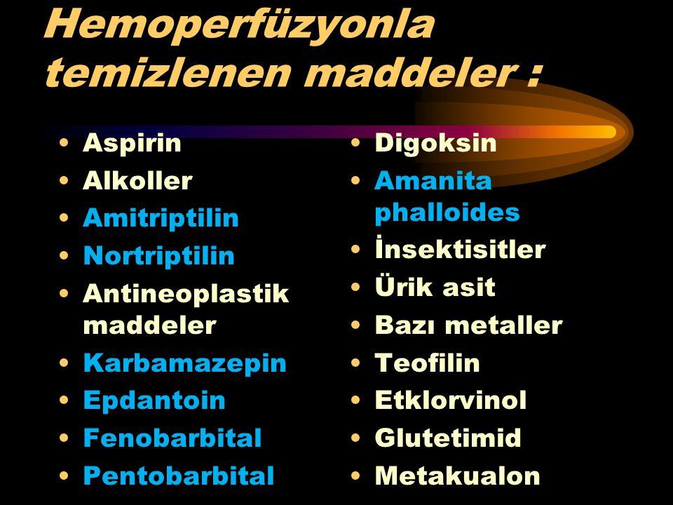 Hemoperfüzyonla temizlenen maddeler :
