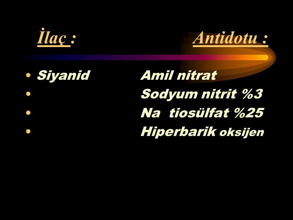 İlaç : Antidotu : Siyanid Amil nitrat Sodyum nitrit %3