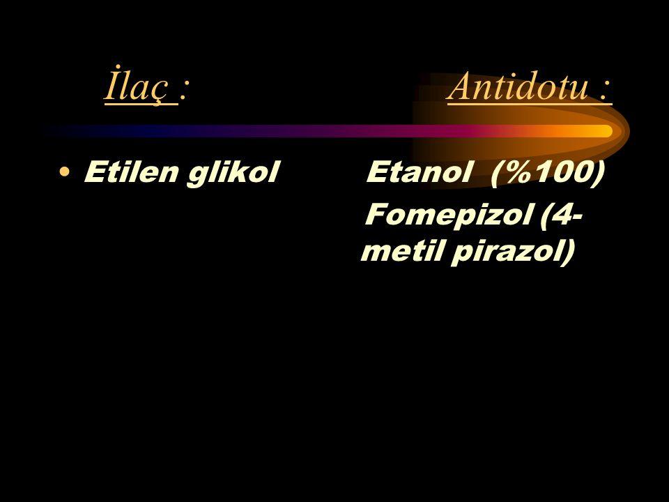 İlaç : Antidotu : Etilen glikol Etanol (%100)