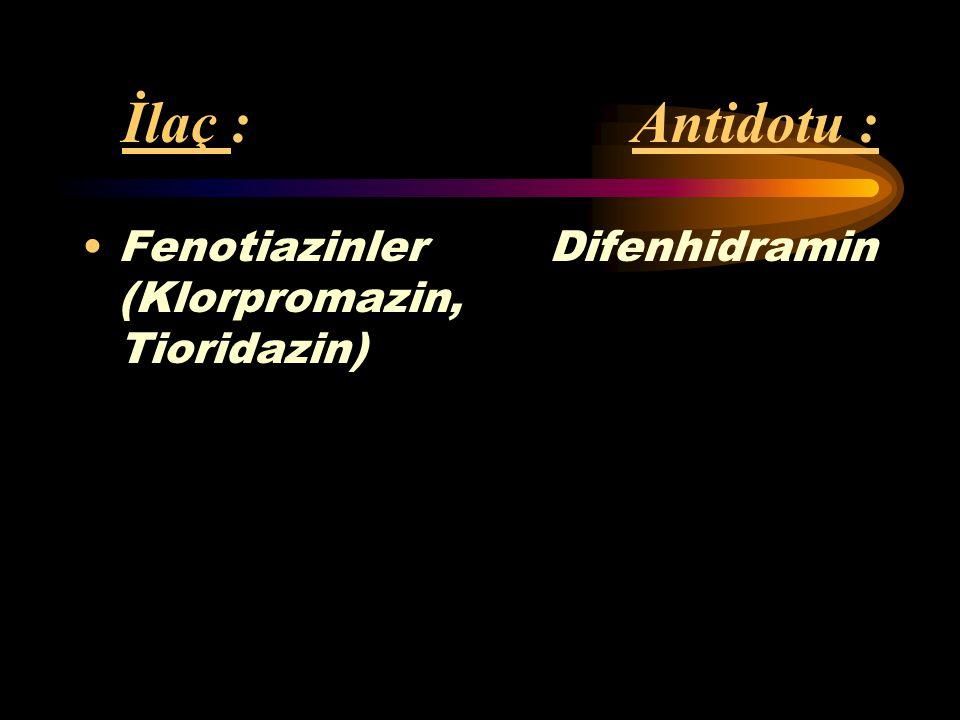 İlaç : Antidotu : Fenotiazinler Difenhidramin (Klorpromazin, Tioridazin)