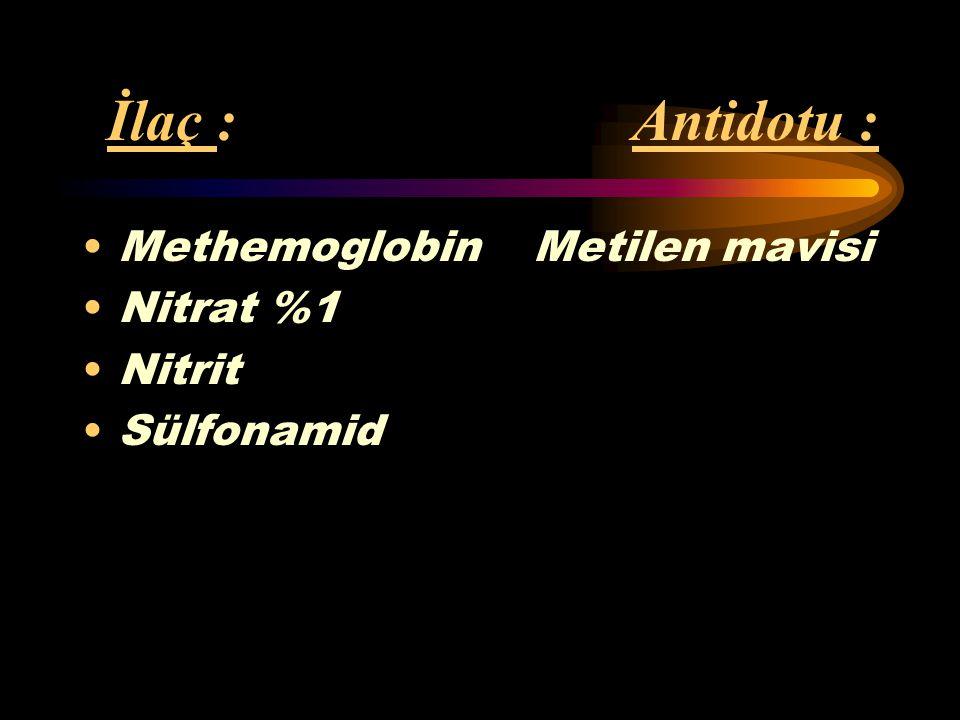 İlaç : Antidotu : Methemoglobin Metilen mavisi Nitrat %1 Nitrit