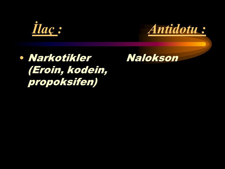 İlaç : Antidotu : Narkotikler Nalokson (Eroin, kodein, propoksifen)