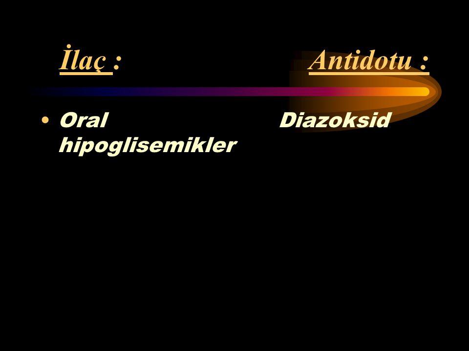 İlaç : Antidotu : Oral Diazoksid hipoglisemikler.