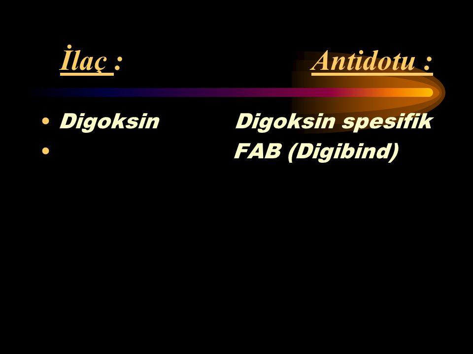 İlaç : Antidotu : Digoksin Digoksin spesifik FAB (Digibind)