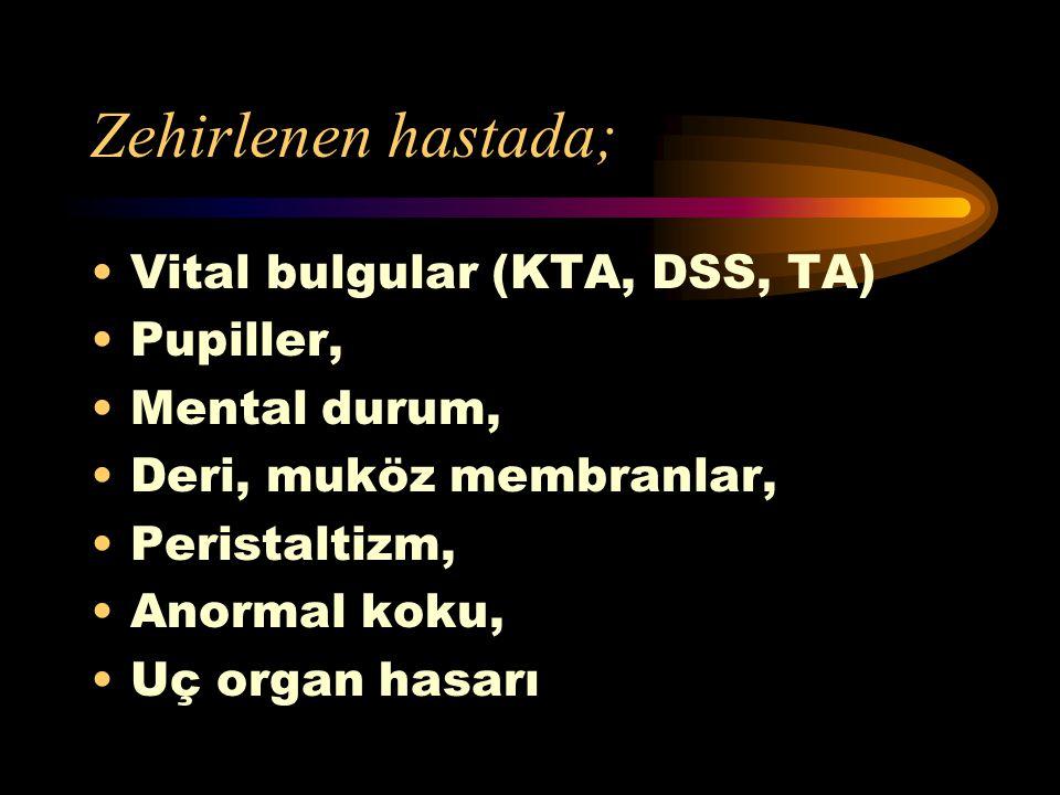 Zehirlenen hastada; Vital bulgular (KTA, DSS, TA) Pupiller,