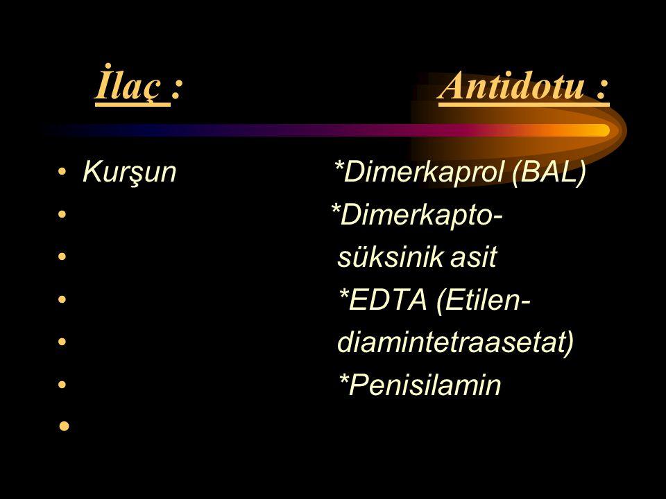 İlaç : Antidotu : Kurşun *Dimerkaprol (BAL) *Dimerkapto- süksinik asit