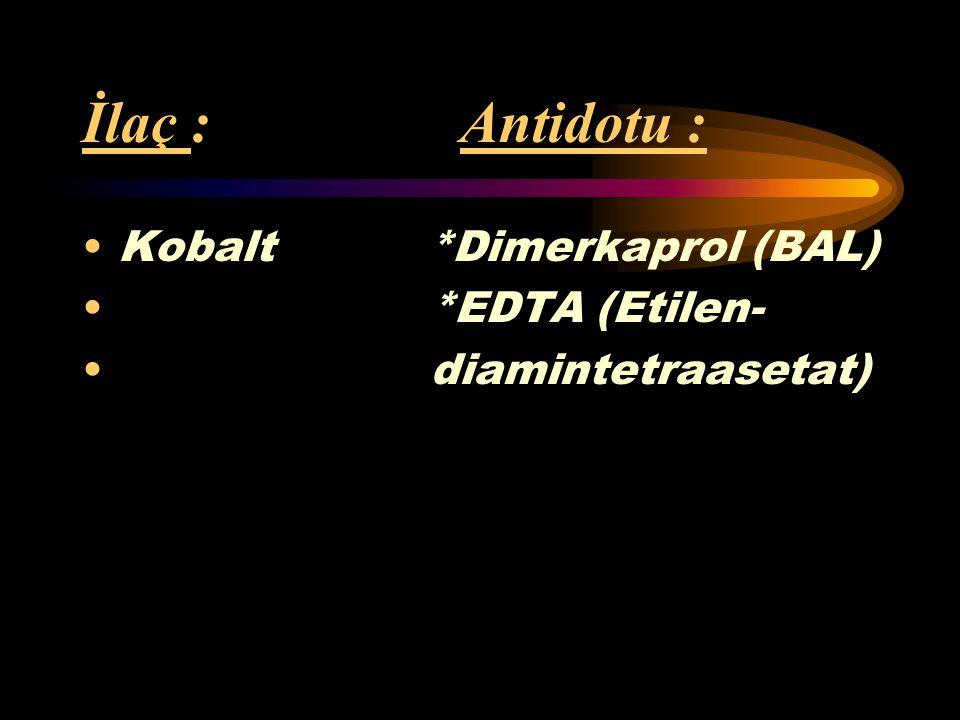 İlaç : Antidotu : Kobalt *Dimerkaprol (BAL) *EDTA (Etilen-
