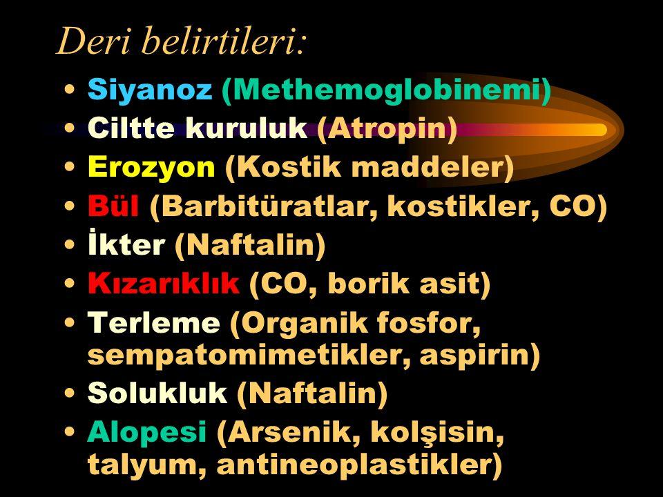 Deri belirtileri: Siyanoz (Methemoglobinemi) Ciltte kuruluk (Atropin)