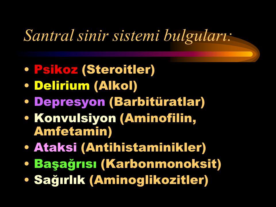 Santral sinir sistemi bulguları: