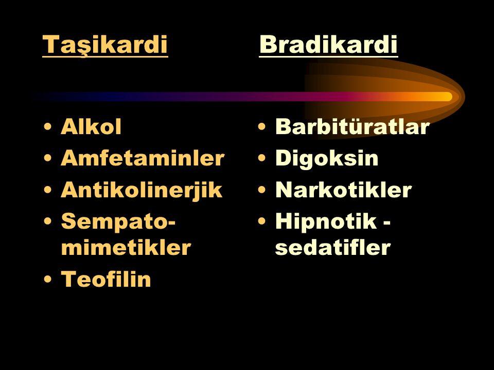 Taşikardi Bradikardi Alkol Amfetaminler Antikolinerjik