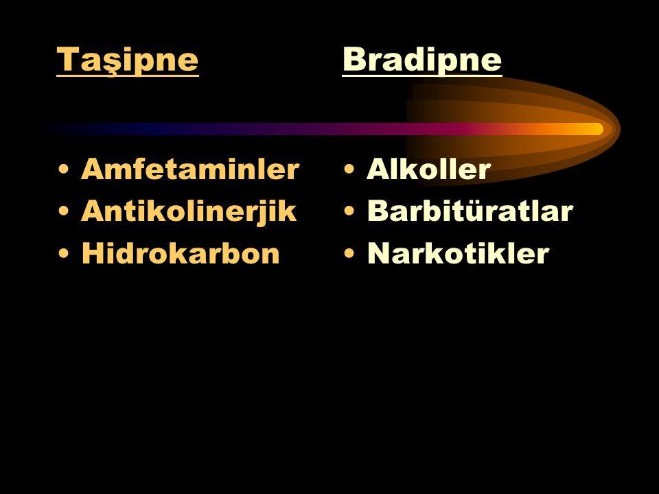 Taşipne Bradipne Amfetaminler Antikolinerjik Hidrokarbon Alkoller
