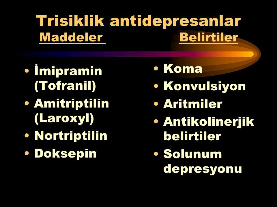 Trisiklik antidepresanlar Maddeler Belirtiler