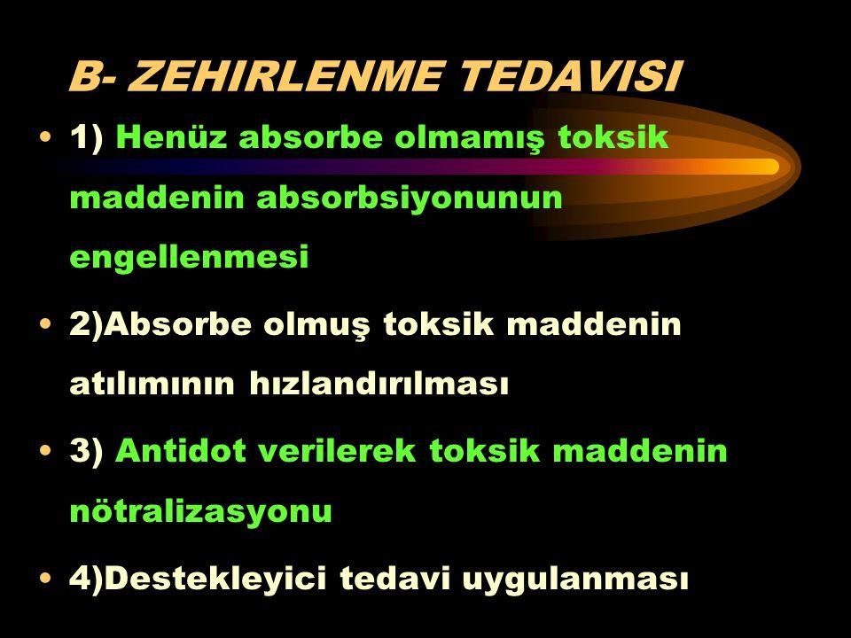 B- ZEHIRLENME TEDAVISI