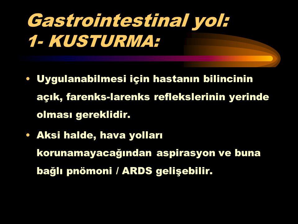 Gastrointestinal yol: 1- KUSTURMA: