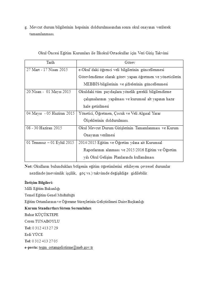 e-Okul'daki öğrenci veli bilgilerinin güncellenmesi