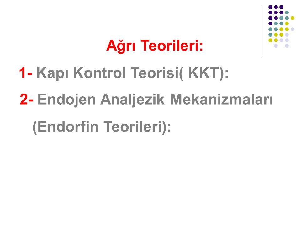 Ağrı Teorileri: 1- Kapı Kontrol Teorisi( KKT): 2- Endojen Analjezik Mekanizmaları.