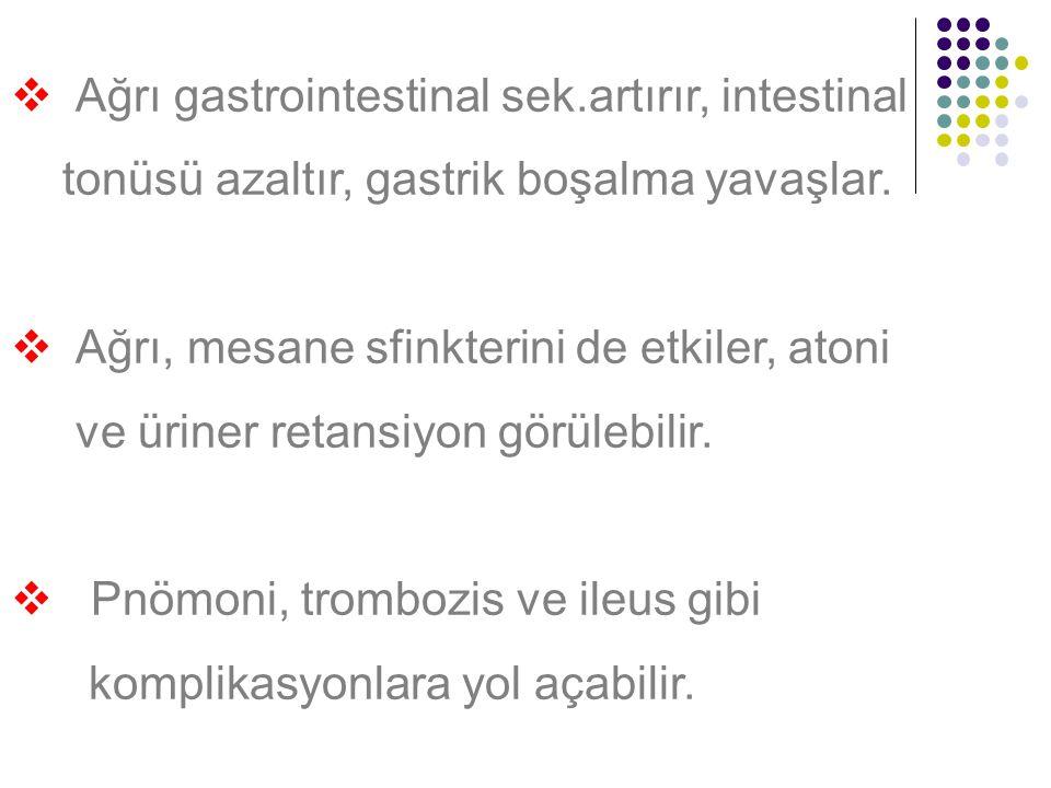 Ağrı gastrointestinal sek.artırır, intestinal