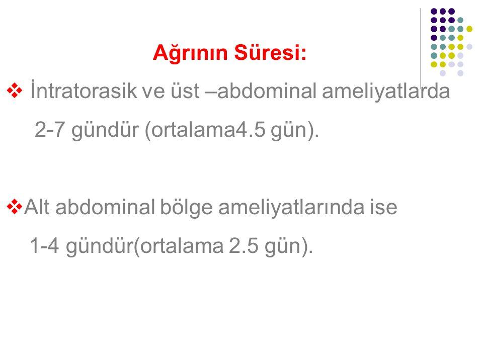 Ağrının Süresi: İntratorasik ve üst –abdominal ameliyatlarda. 2-7 gündür (ortalama4.5 gün). Alt abdominal bölge ameliyatlarında ise.