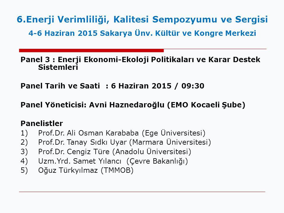 6.Enerji Verimliliği, Kalitesi Sempozyumu ve Sergisi 4-6 Haziran 2015 Sakarya Ünv. Kültür ve Kongre Merkezi