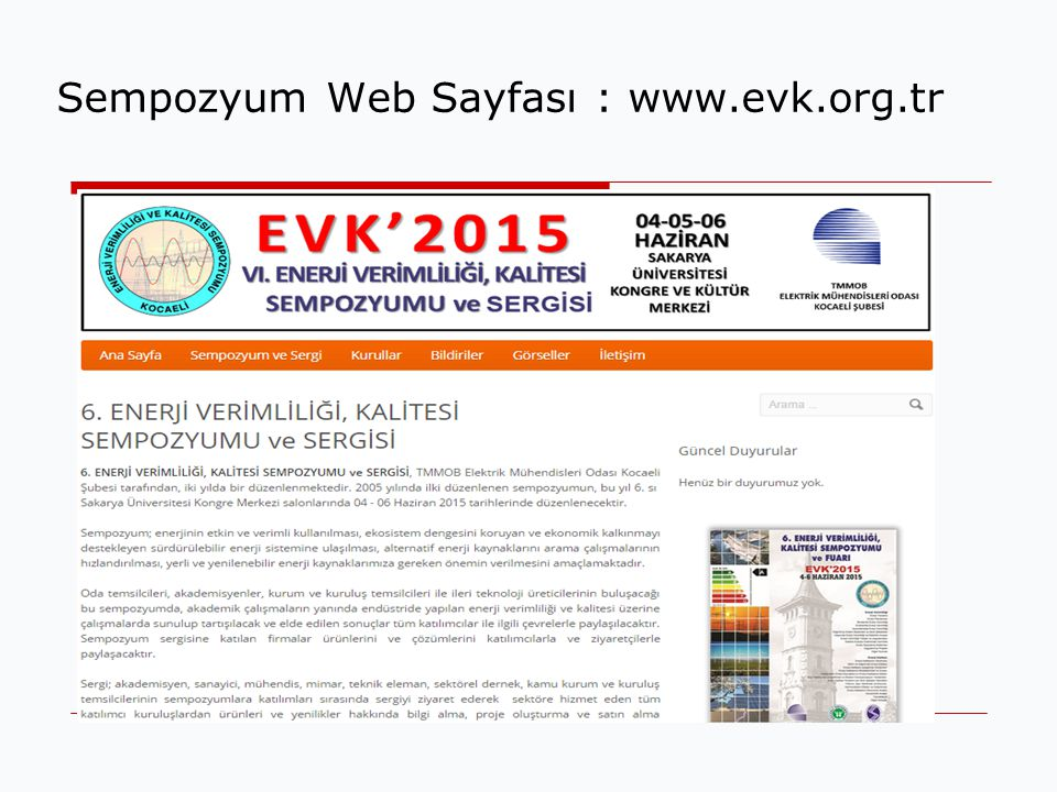 Sempozyum Web Sayfası : www.evk.org.tr